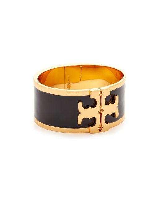 Tory Burch | Multicolor Enamel Raised Logo Wide Cuff Bracelet | Lyst