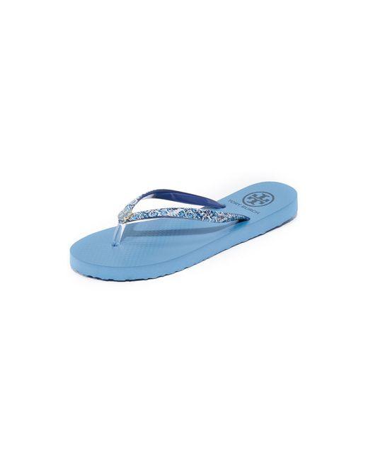 Tory Burch | Blue Thin Flip Flops | Lyst