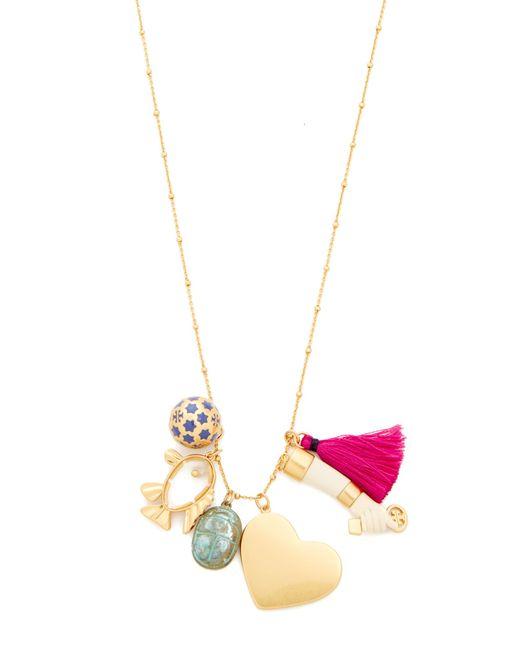 Tory Burch | Metallic Charm Pendant Necklace | Lyst