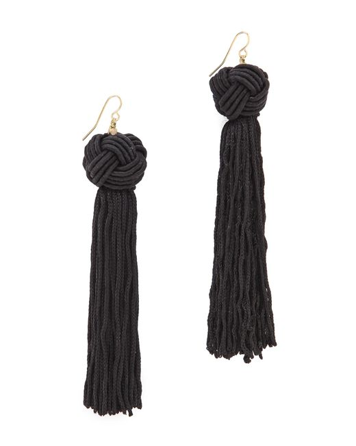 Vanessa Mooney | Black The Astrid Knotted Tassel Earrings | Lyst