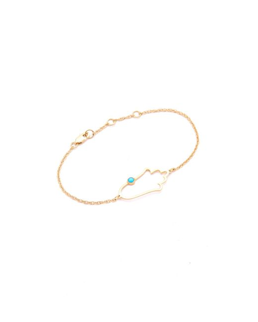 Jennifer Zeuner | Metallic Open Hamsa Bracelet With Turquoise | Lyst