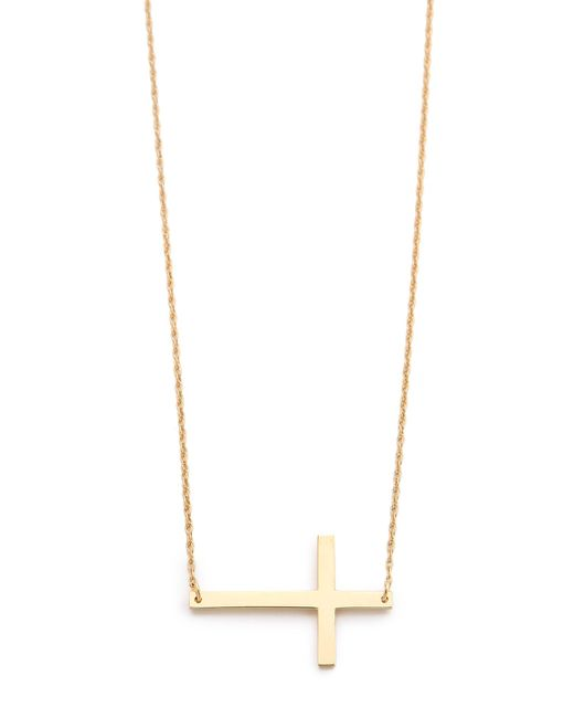 Jennifer Zeuner | Metallic Horizontal Cross Necklace | Lyst