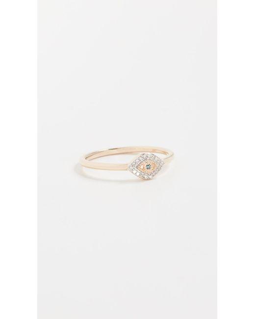 Adina Reyter - Metallic 14k Gold Super Tiny Pave Evil Eye Ring - Lyst