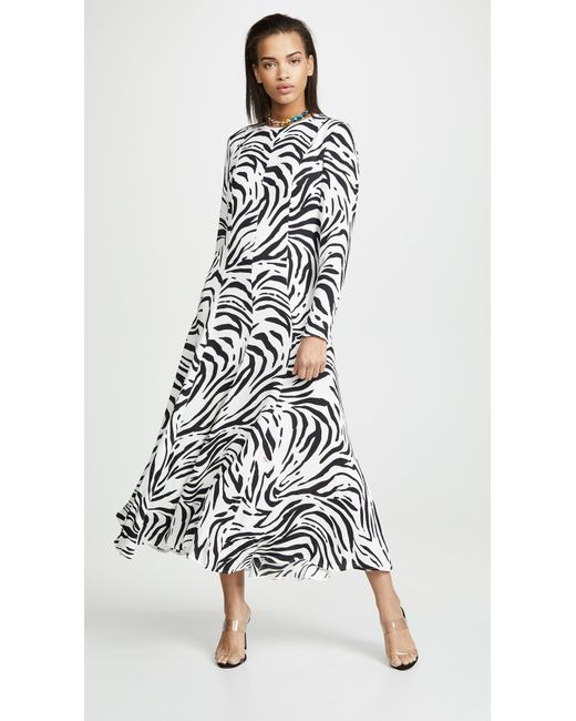 c4b4505b019 ... MSGM - Black Zebra Maxi Dress - Lyst ...