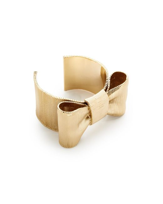 Kate Spade | Metallic All Wrapped Up Bow Cuff Bracelet | Lyst