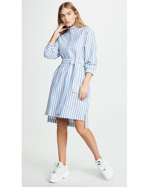 17bed0cedd Lyst - Acne Studios Derin Stripe Waffle Dress in Blue