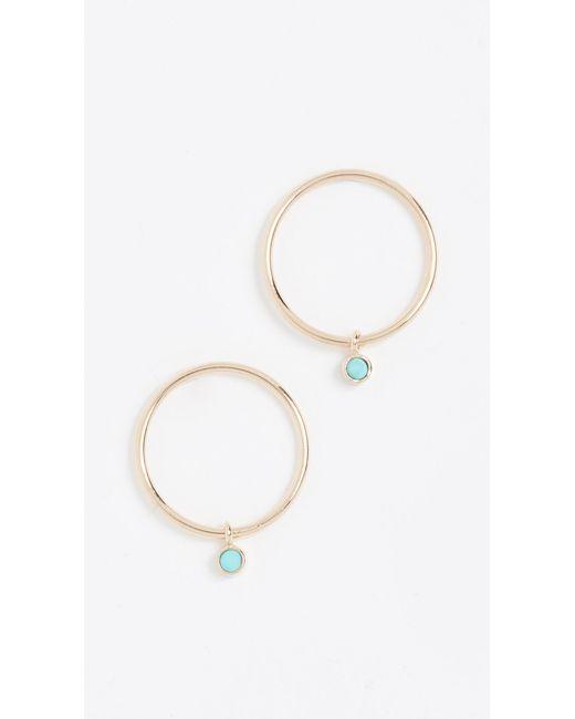 Zoe Chicco - Metallic 14k Gold Earrings With Turquoise Bezel - Lyst
