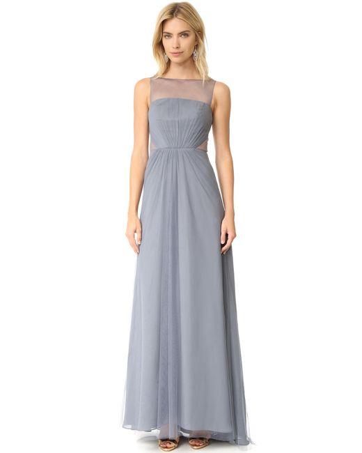 Monique Lhuillier Bridesmaids | Multicolor Tulle Illusions Cut Out Gown | Lyst