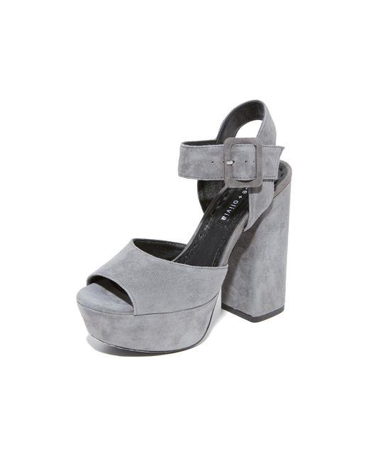 Alice + Olivia - Gray Lily Suede Platform Sandals - Lyst