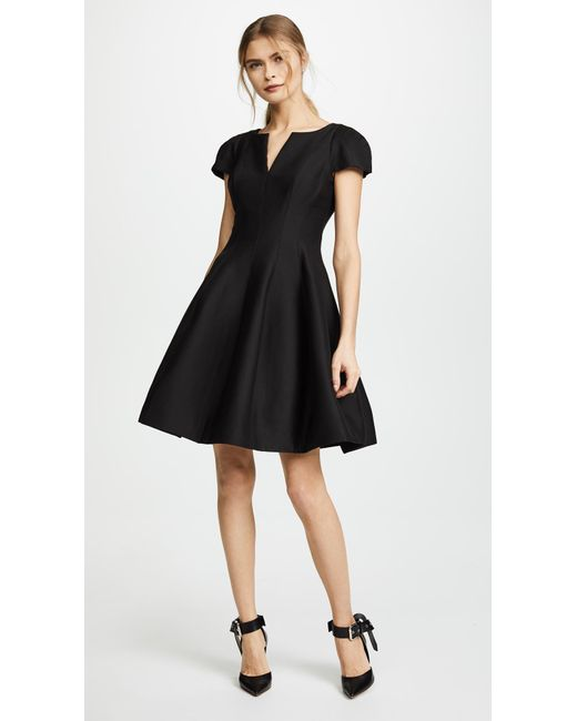 Halston Heritage | Black Notch Neck Tulip Dress | Lyst