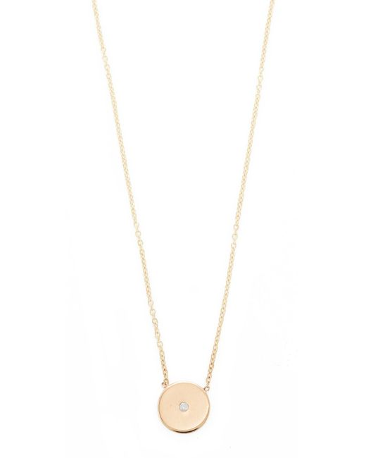 Zoe Chicco - Metallic 14k Gold Small Disc Diamond Necklace - Lyst