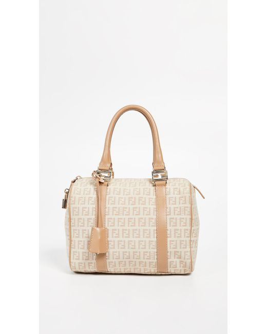 b99906af9e3e What Goes Around Comes Around - Natural Fendi Beige Small Boston Bag - Lyst  ...