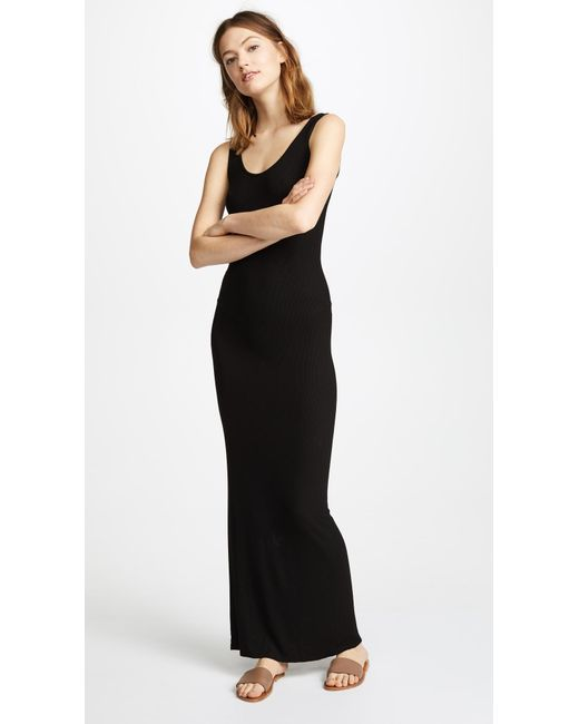 Lyst Enza Costa Ribbed Tank Maxi Dress In Black