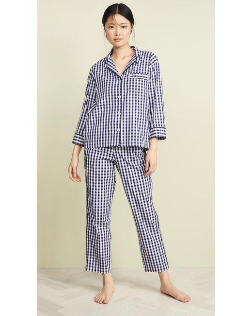 7d87fd33ceeef ... Sleepy Jones - Blue Gingham Marina Pajama Pants - Lyst ...