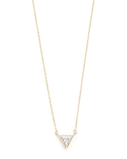 Adina Reyter | Metallic Super Tiny Solid Pave Triangle Necklace | Lyst