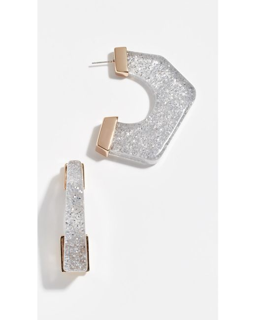 Rebecca Minkoff - Metallic Glitter Resin Hoop Earrings - Lyst