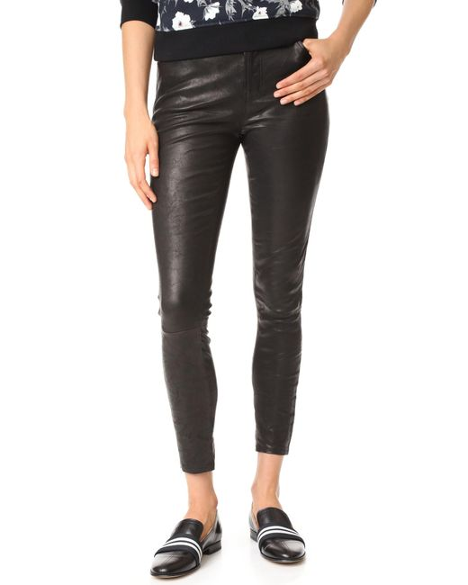 J Brand | Black High Rise Alana Crop Leather Pants | Lyst