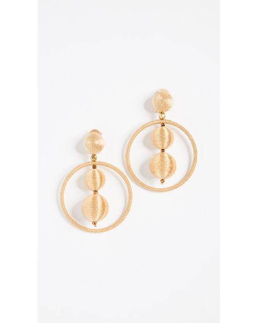 Oscar de la Renta - Metallic Double Beaded Ball Hoop Clip On Earrings - Lyst