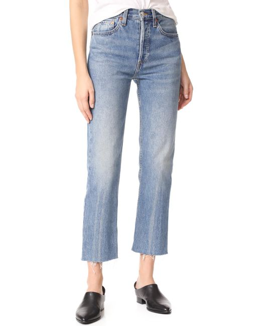 Re/done - Blue High Rise Rigid Stove Pipe Jeans - Lyst