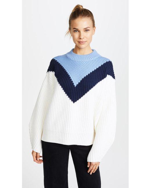 Tory Sport   Blue Chevron Mock Neck Sweater   Lyst
