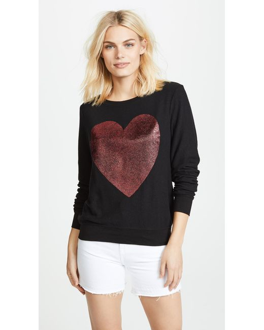 Wildfox - Black Sparkle Heart Baggy Beach Pullover - Lyst