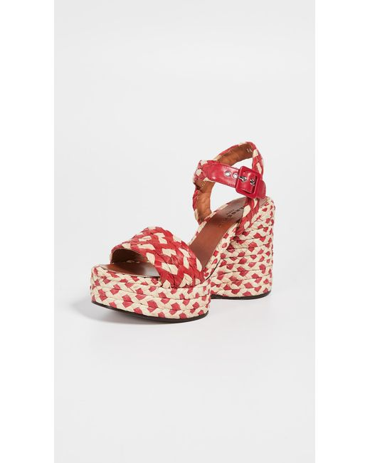 5aa30e4f7c7 Robert Clergerie - Red Arizona Wedge Sandals - Lyst ...
