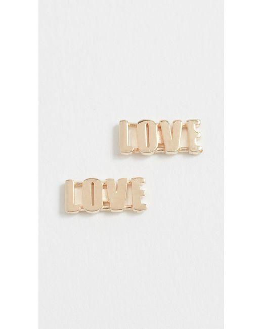 Established - Metallic 14k Gold Love Earrings - Lyst