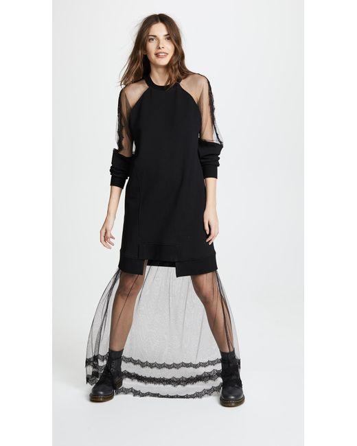 Black Hybrid Long Dress Alexander McQueen 9JT5wpl