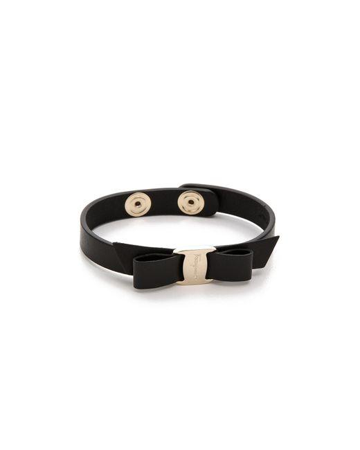 Ferragamo - Black Vara Bow Single Wrap Bracelet - Lyst