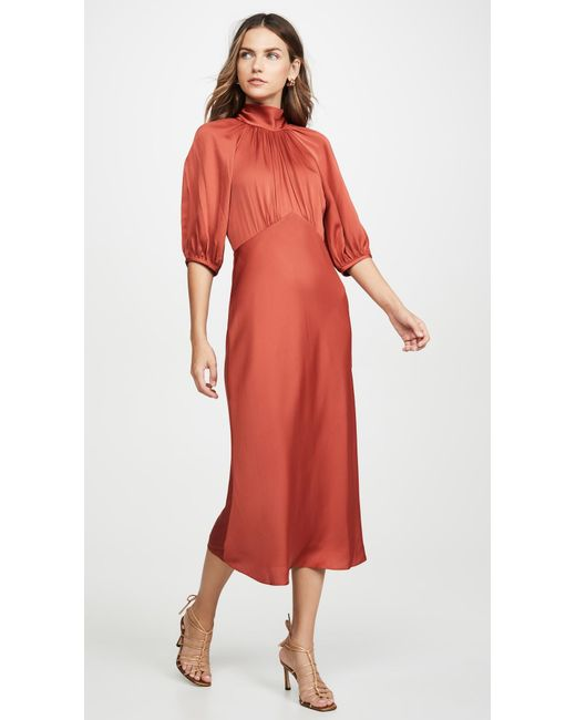 Rebecca Taylor Red Short Sleeve Satin Tie Dress