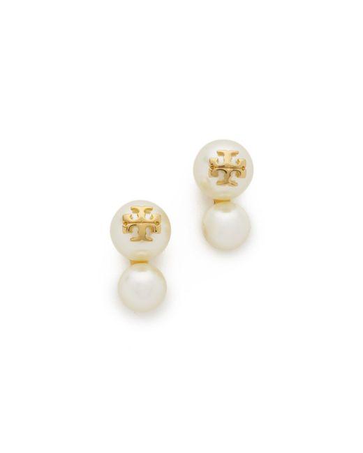 Tory Burch   White Swarovski Crystal Imitation Pearl Double Stud Earrings   Lyst