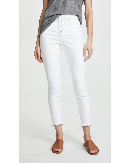 dd3f3d7135 Madewell - High-rise Skinny Jeans In Pure White  Step-hem Edition ...
