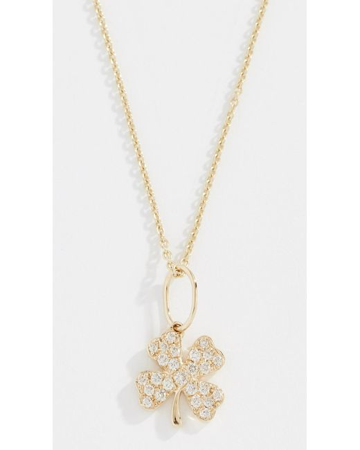 Sydney Evan - Metallic 14k Small Clover Necklace - Lyst