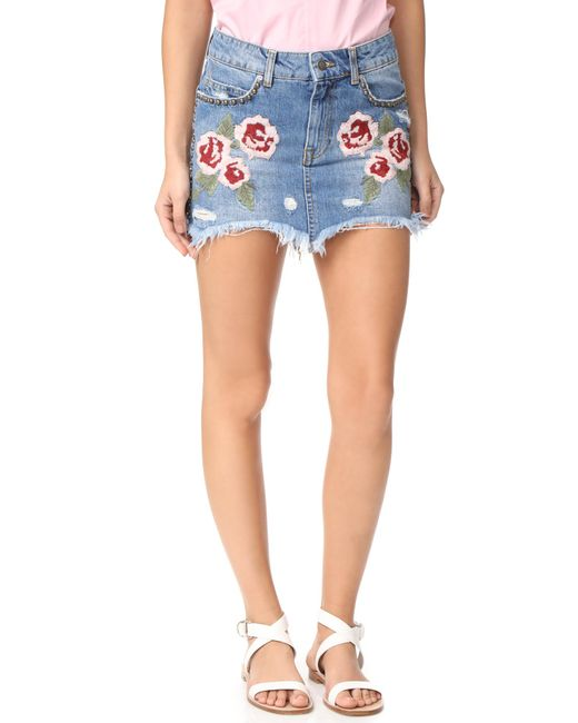 Free People | Blue Wild Rose Embroidered Miniskirt | Lyst
