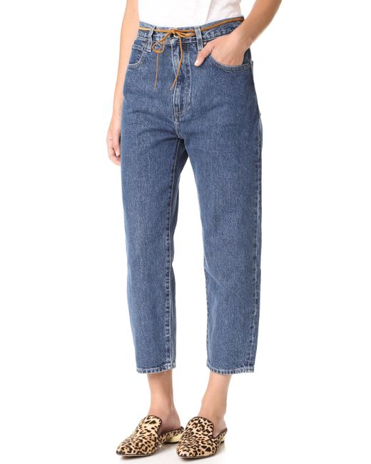 Levi 39 s made crafted barrel jeans in blue lyst for Levi s made and crafted