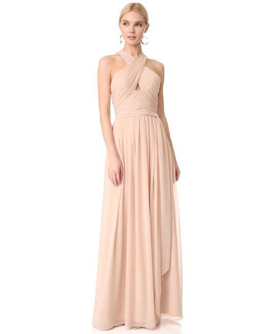 Monique Lhuillier Bridesmaids - Pink Halter Gown With Cutout - Lyst