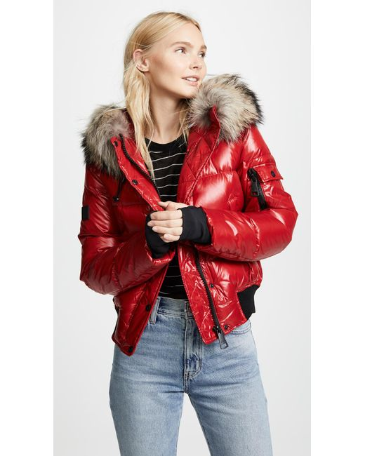 Sam. - Red Skyler Short Down Jacket With Fur - Lyst