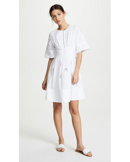 Jason Wu - White Ribbon Eyelet Short Sleeve Dress - Lyst