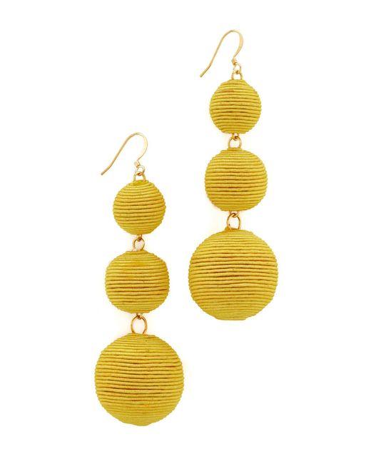 Kenneth Jay Lane | Yellow Triple Tier Drop Earrings | Lyst