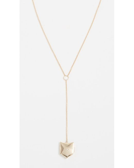 Zoe Chicco - Metallic 14k Gold Shield Locket Lariat Necklace With Diamond - Lyst