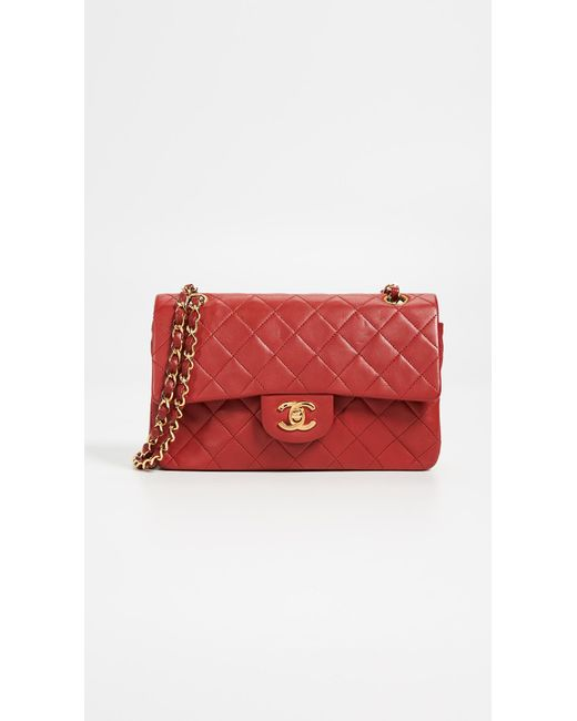 0ea8b4129913 What Goes Around Comes Around - Chanel Red Lambskin Classic Flap Bag - Lyst  ...