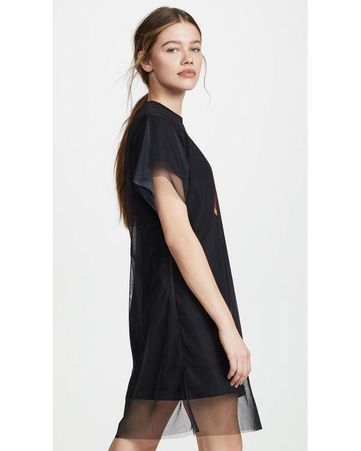385529723a ... KENZO - Black Double Layer T-shirt Dress - Lyst ...