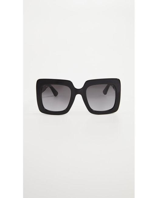 062d1d40a7 Gucci - Black GG Square Oversized Sunglasses - Lyst ...