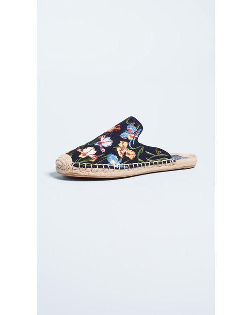 Tory Burch - Blue Max Embroidered Espadrille Slides - Lyst
