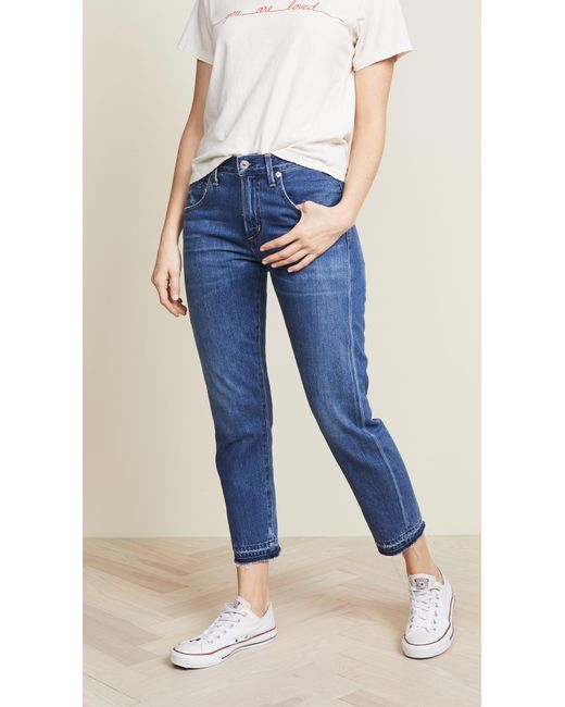 Citizens of Humanity - Blue Emerson Crop Slim Fit Boyfriend Jeans - Lyst