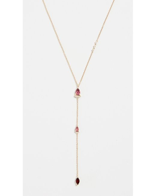 Paige Novick - 18k Lariat Necklace With Diamonds & Pink Tourmaline - Lyst