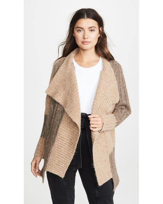 Yigal Azrouël Natural Two Tone Patch Work Cardigan