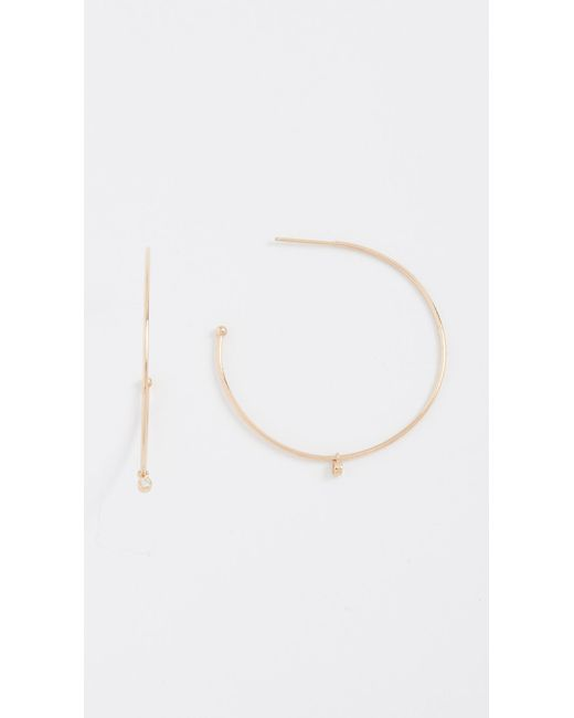 Zoe Chicco | Metallic 14k Gold Elegant Hoop With Dangle Accent | Lyst