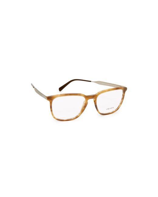 Prada - Brown Square Glasses - Lyst