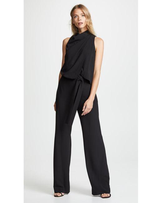 2a7a03cc341 Halston Heritage - Black Sleeveless Drape Jumpsuit - Lyst ...
